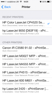 List of available printers.